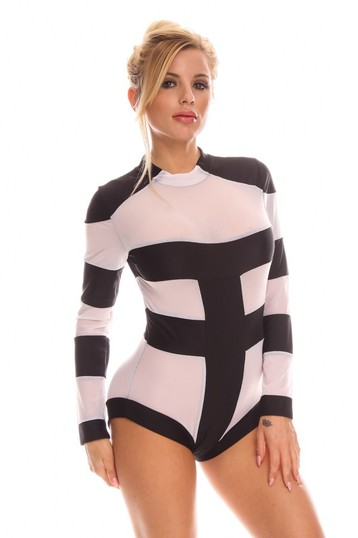 long sleeve one piece swimsuit,black and white one piece swimsuit,sexy monokini